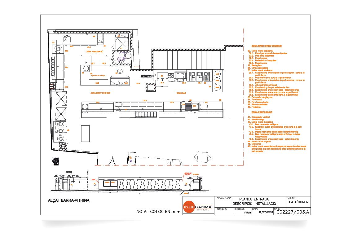 Descripció instal·lació Restaurant Ca l'Obrer planta entrada.