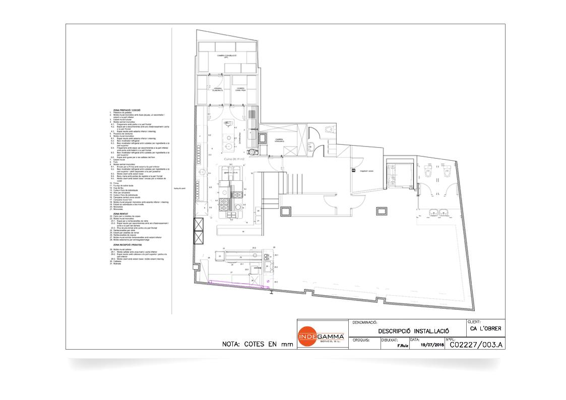 Instalación Restaurant Ca l'Obrer (planta baja)