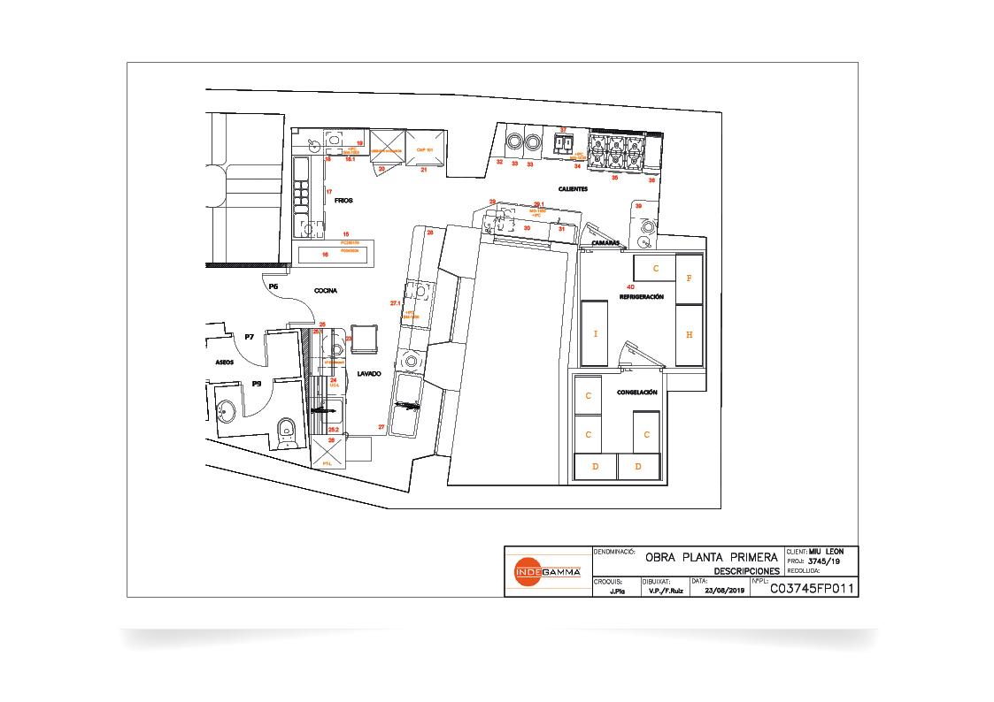 Descripció instal·lació Restaurant Miu (Lleó) primera planta
