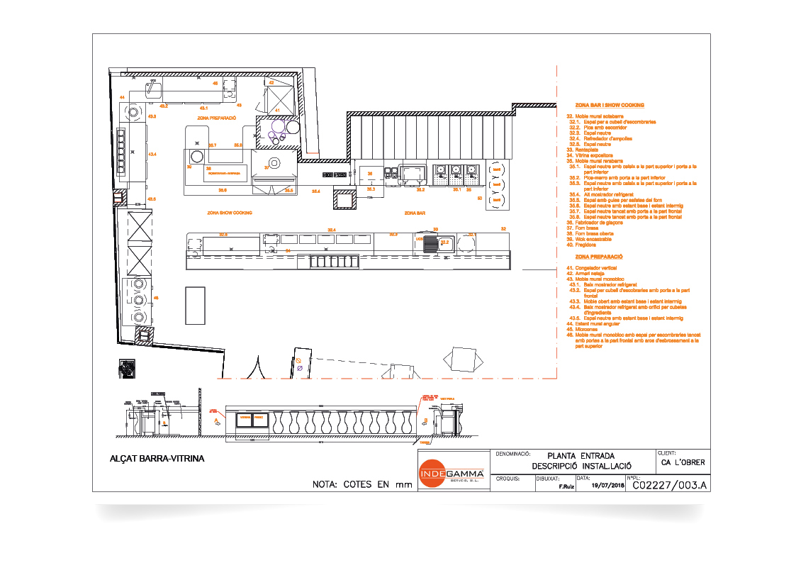 Instalación Restaurant Ca l'Obrer (planta entrada)